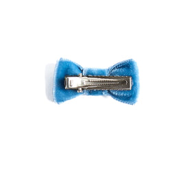 Velvet Blue Small Bow Clip - HAIR ACCESSORIES - PEPA AND CO