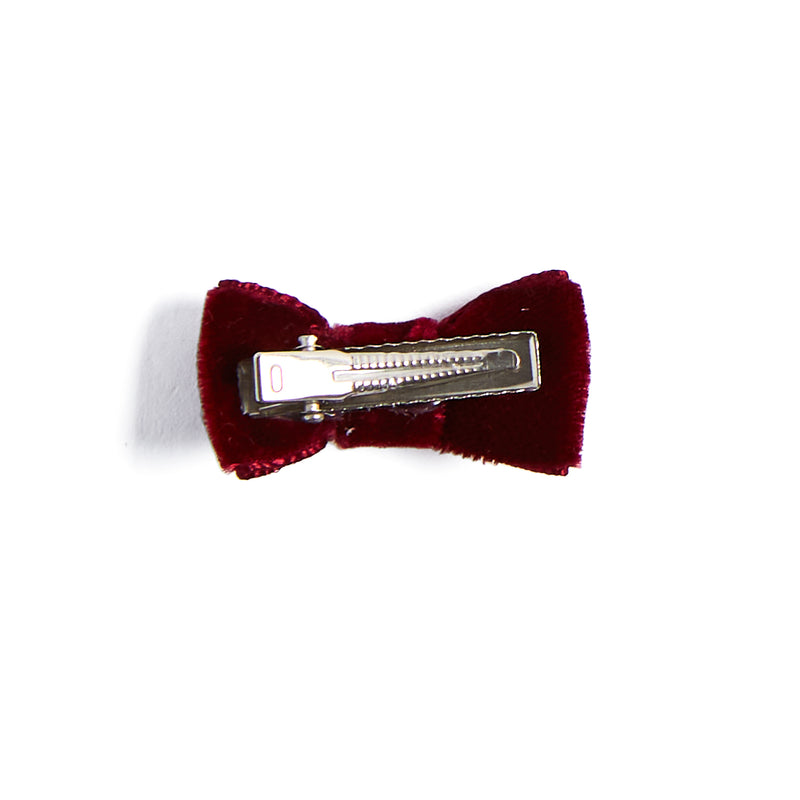Velvet Burgundy Small Bow Clip - HAIR ACCESSORIES - PEPA AND CO