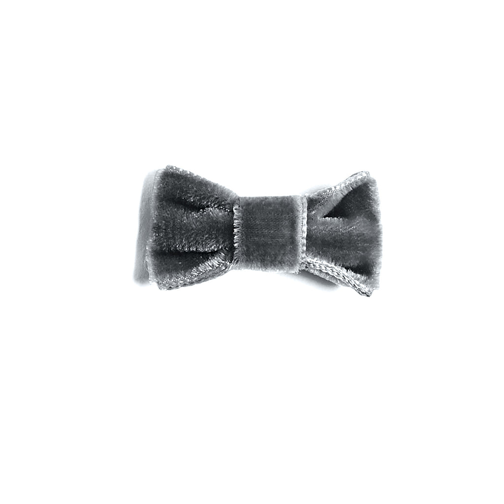 Velvet Grey Small Bow Clip - HAIR ACCESSORIES - PEPA AND CO