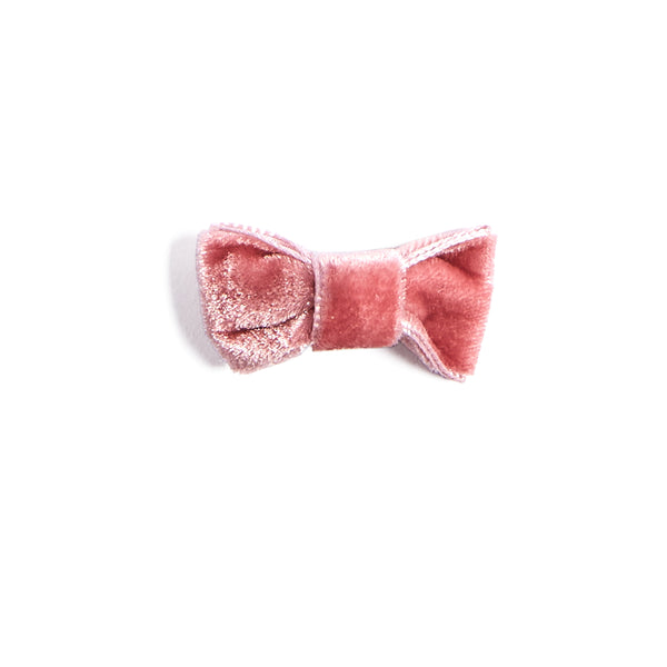 Velvet Pink Small Bow Clip - HAIR ACCESSORIES - PEPA AND CO