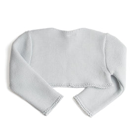 Girls Cropped Celebration Cardigan Pearl Grey - Cardigan - PEPA AND CO