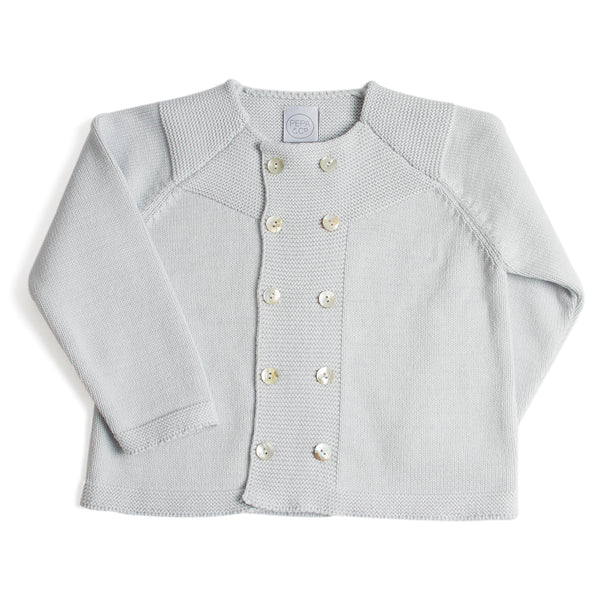 Boys Cropped Celebration Cardigan Pearl Grey - Cardigan - PEPA AND CO