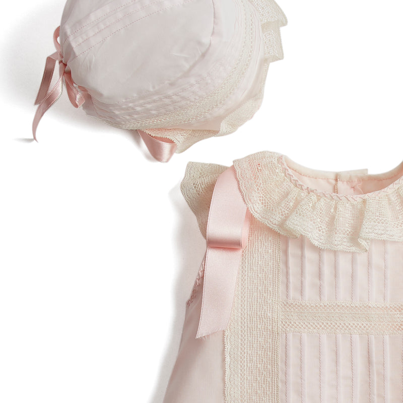 Made To Order Organic Cotton Gown With Shoulder Ribbons and Antique Lace - Light Pink