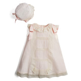 Bespoke Organic Cotton Christening Dress and Bonnet in Light Pink - Made to order - PEPA AND CO