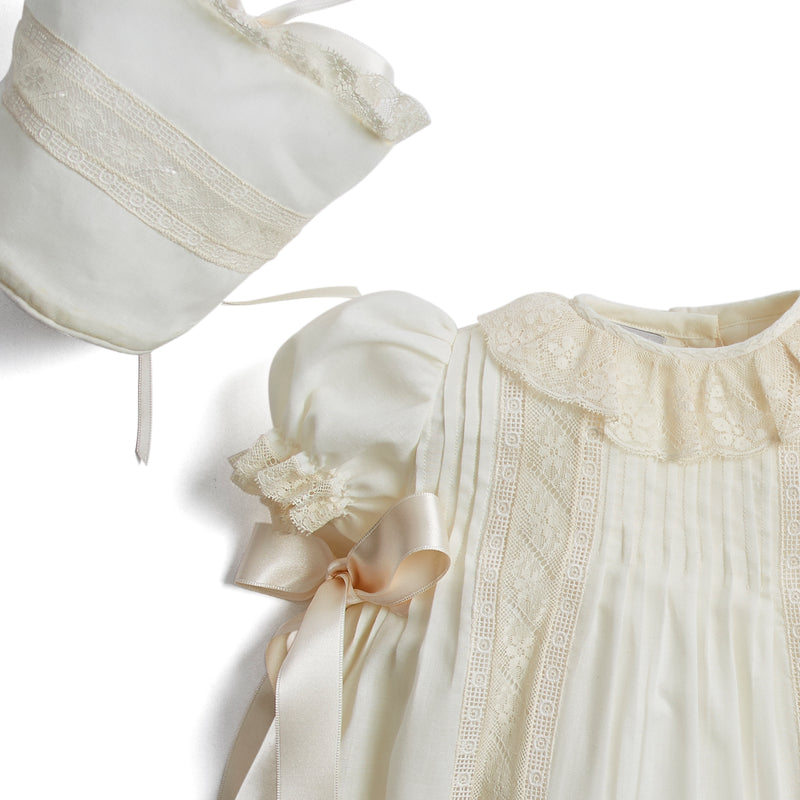 Made To Order Organic Cotton Gown With Shoulder Ribbons and Antique Lace - Ivory