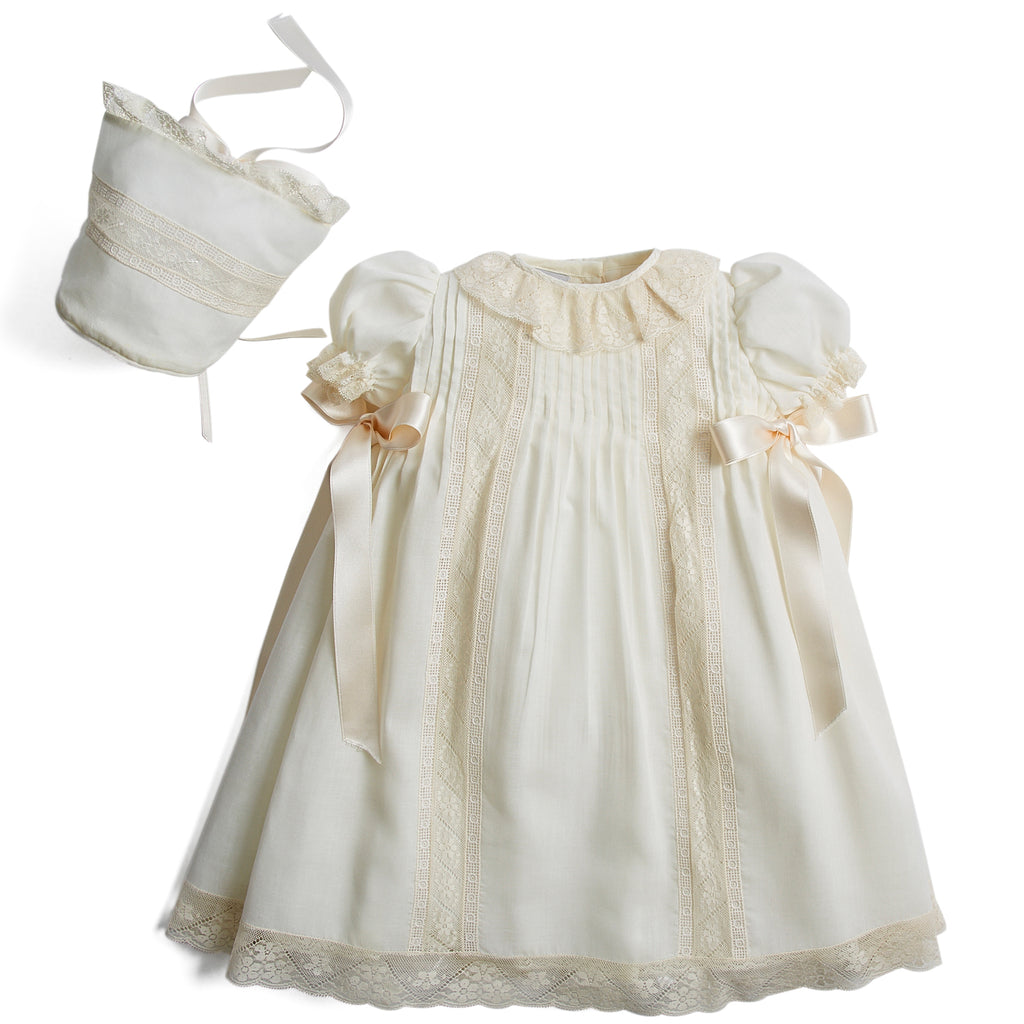 Made To Order Organic Cotton Gown With Shoulder Ribbons and Antique Lace - Ivory - Made to order - PEPA AND CO
