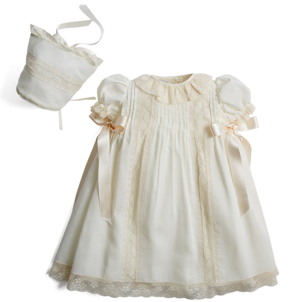 Bespoke Organic Cotton Dress With Shoulder Ribbons and Bonnet - Made to order - PEPA AND CO