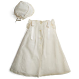 Organic Cotton Dress With Side Satin Sash and Bonnet - Made to order - PEPA AND CO