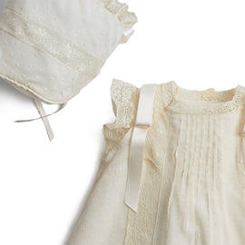 Made To Order Organic Cotton Gown With Side Satin Sash and Antique Lace - Ivory