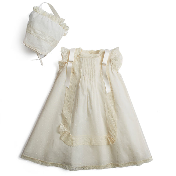 Bespoke Organic Cotton Dress With Side Satin Sash and Bonnet - Made to order - PEPA AND CO
