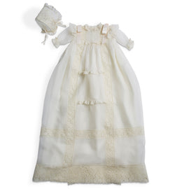 Made To Order Silk Christening Gown With Antique Lace Panel Trims and Shoulder Satin Bow - Ivory