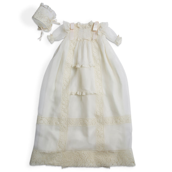 Bespoke Organza Silk Christening Gown With Antique Lace and Bonnet - Made to order - PEPA AND CO
