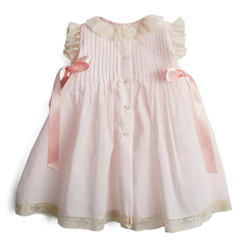 Made To Order Organic Cotton Christening Gown With Antique Lace Trims - Pink