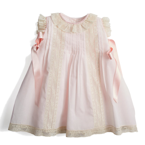 Bespoke Organic Cotton Traditional Dress With Antique Lace in Pink - Made to order - PEPA AND CO
