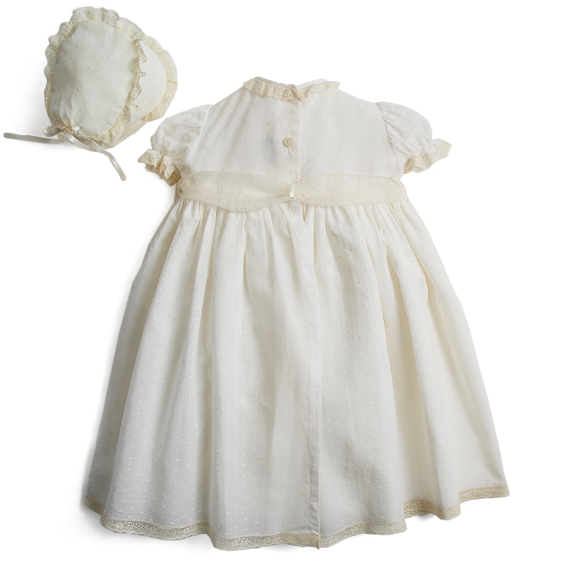 Made To Order Embroidered Organic Cotton Christening Gown With Antique Lace Trims and Silk Sash - Ivory - Made to order - PEPA AND CO
