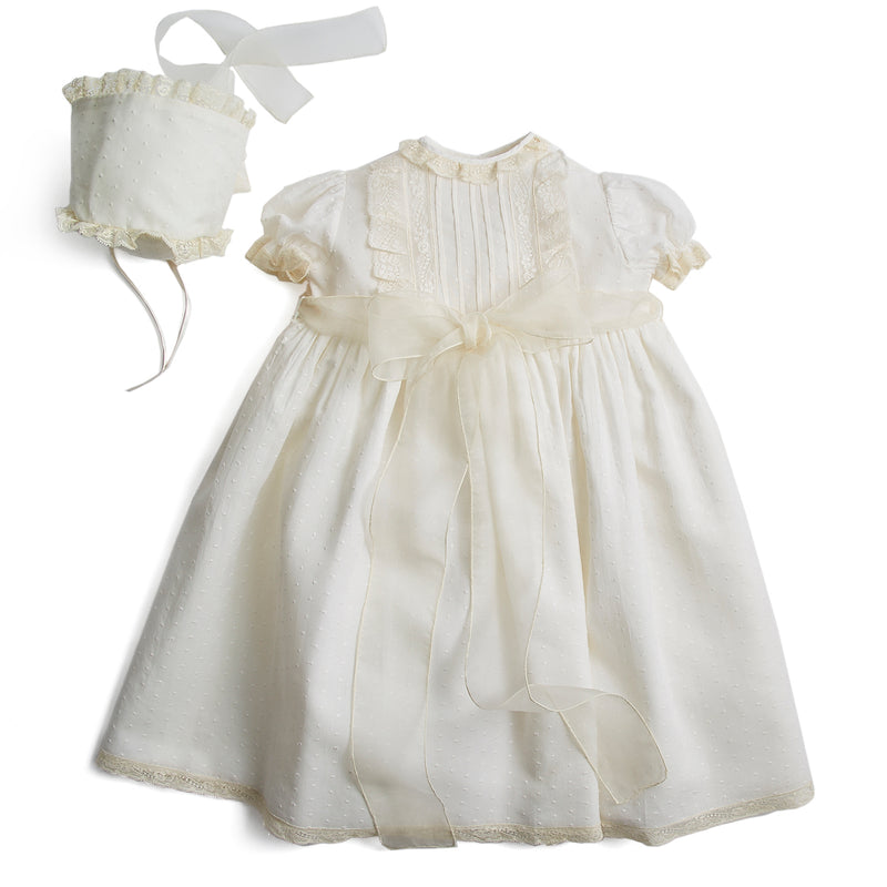Plumeti Embroidered Organic Lawn Cotton Christening Dress and bonnet - Made to order - PEPA AND CO