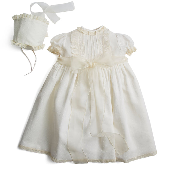 Made To Order Embroidered Organic Cotton Christening Gown With Antique Lace Trims and Silk Sash - Ivory