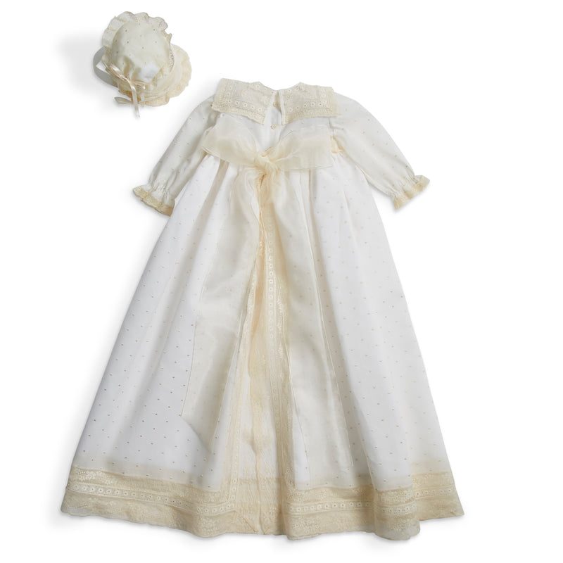 Made to order embroidered Cotton Gown with antique lace panel and details - Made to order - PEPA AND CO