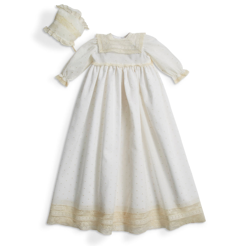 Made to order embroidered Cotton Gown with antique lace panel and details