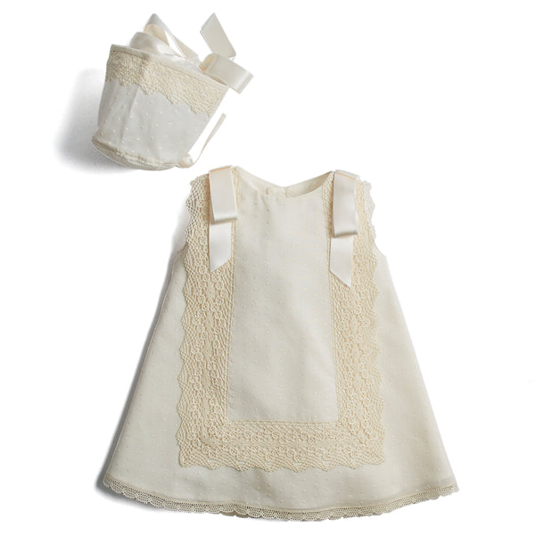 Made to order Christening dress in plumeti cotton with silk ribbon shoulder details and lace panel
