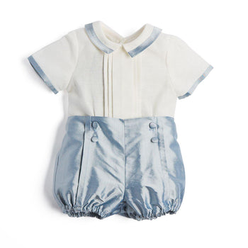 Baby Boy Celebration Blue Silk Bloomers and Linen Shirt Set - Set - PEPA AND CO