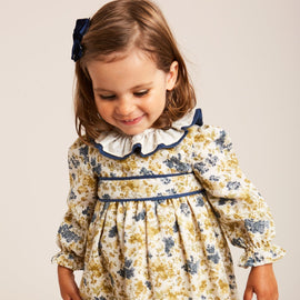 Cream and Blue Floral Dress with Frill Collar - DRESS - PEPA AND CO