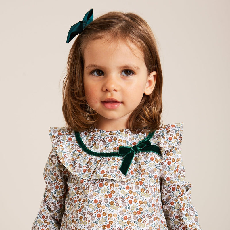 Floral Blouse with Green Velvet Bow - BLOUSE - PEPA AND CO