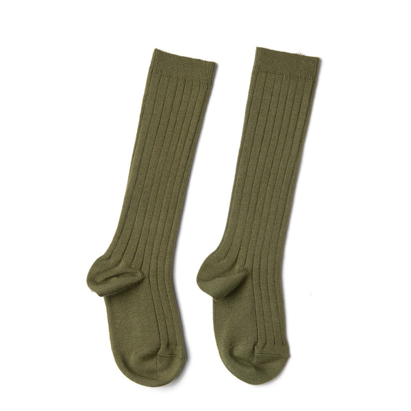 Green Ribbed Knee-High Socks - Socks - PEPA AND CO