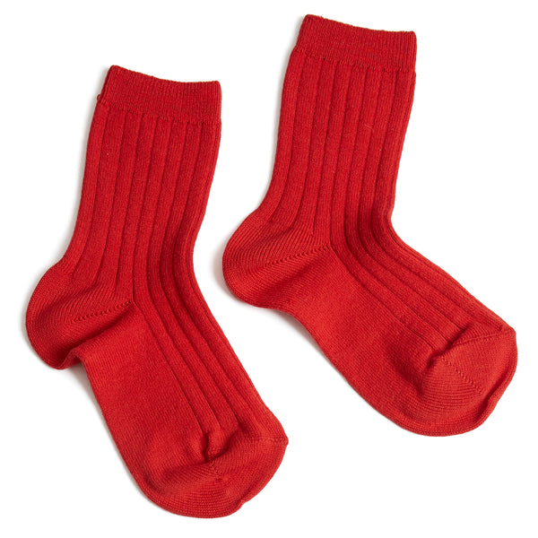 Ribbed Shorts Socks Red - Socks - PEPA AND CO
