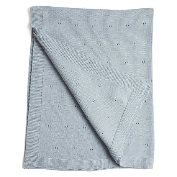 Traditional Cotton Knitted Baby Blanket Blue - Blanket - PEPA AND CO