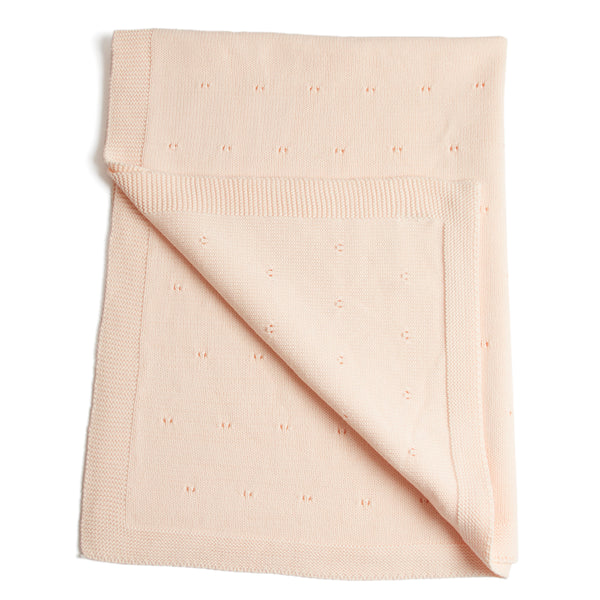 Traditional Cotton Knitted Baby Blanket Pink - Blanket - PEPA AND CO