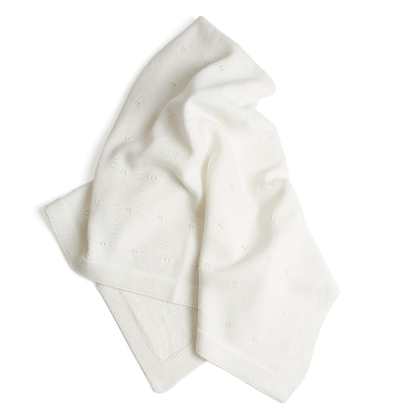White Cotton Baby Blanket - Blanket - PEPA AND CO