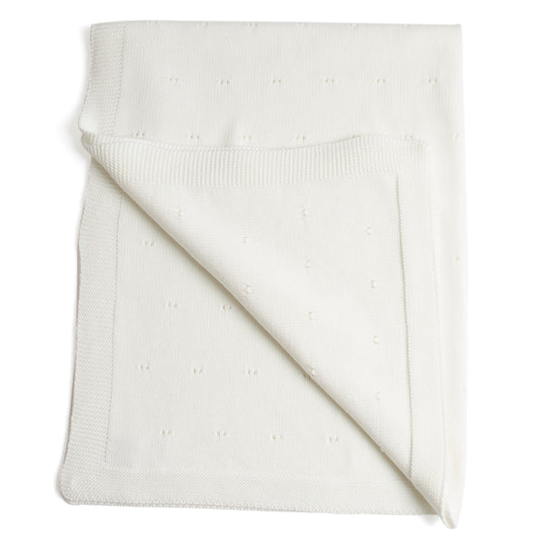 Traditional Cotton Knitted Baby Blanket White - Blanket - PEPA AND CO