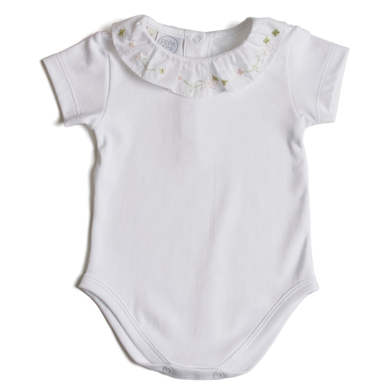 Cotton Baby Bodysuit with Embroidered Pink Floral Collar - Bodysuit - PEPA AND CO