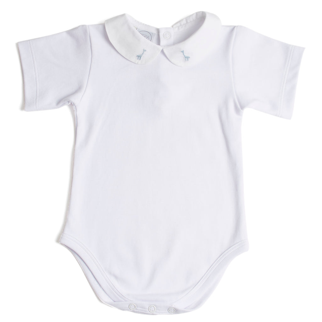 Classic Baby Boy Bodysuit with Giraffe Embroidery in Blue - Bodysuit - PEPA AND CO