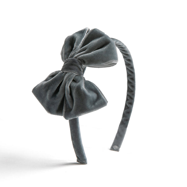 Velvet Grey Hairband - HAIR ACCESSORIES - PEPA AND CO