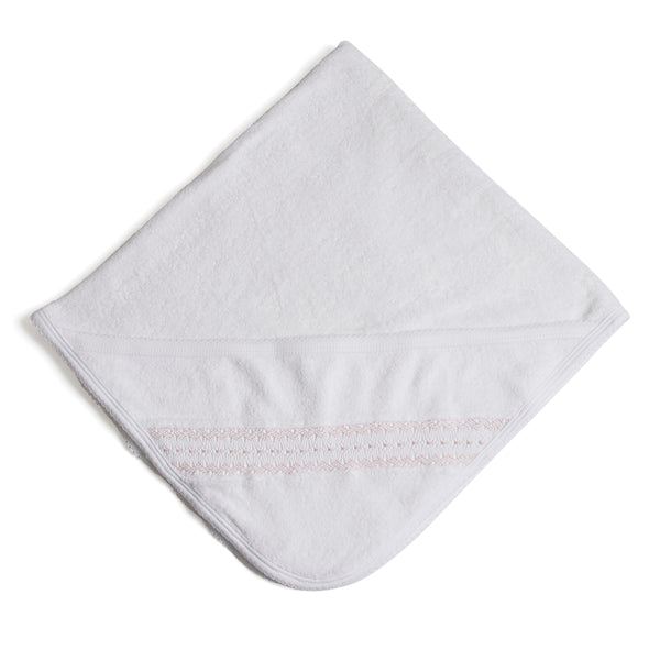 Off-White Towel with Pink embroideries