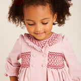 Traditional Pink Handsmocked Cotton Dress - DRESS - PEPA AND CO