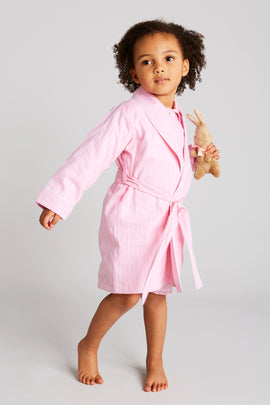 Traditional Pink & White Striped Dressing Gown - Nightwear - PEPA AND CO