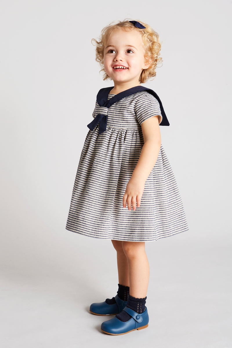 Navy & White Mariner Linen Dress - Dress - PEPA AND CO