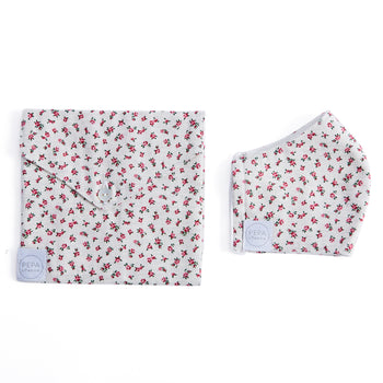 Grey Floral Face Mask with Pouch - ACCESSORIES - PEPA AND CO