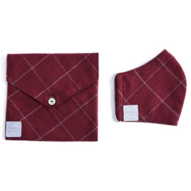 Burgundy Checked Face Mask with Pouch - ACCESSORIES - PEPA AND CO