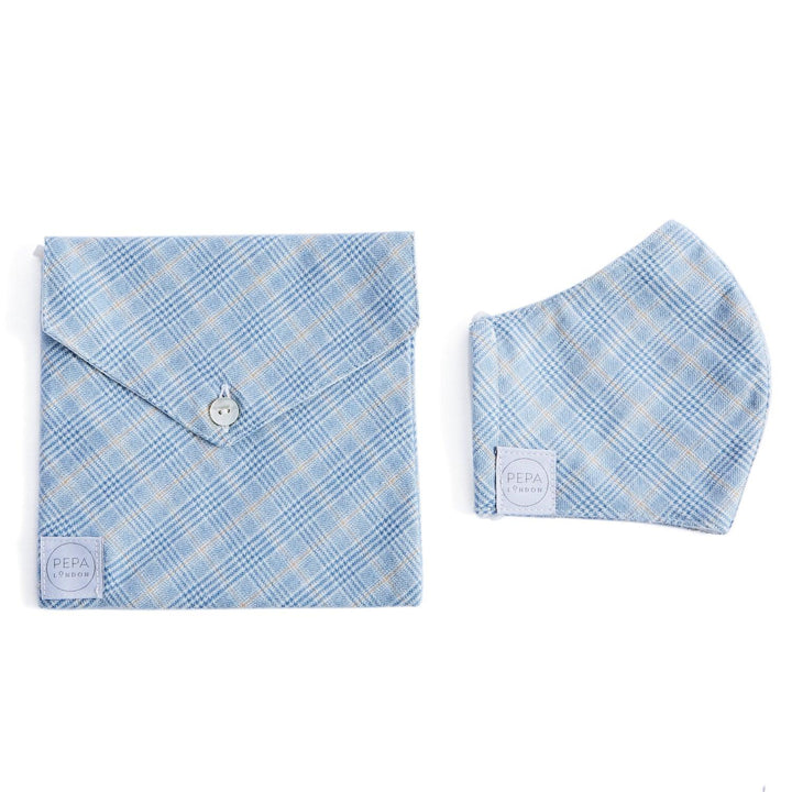 Baby Blue Checked Face Mask with Pouch - ACCESSORIES - PEPA AND CO