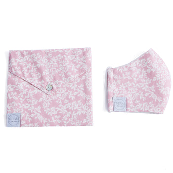 Pink Floral Face Mask with Pouch - ACCESSORIES - PEPA AND CO