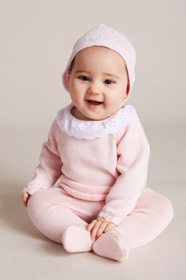 Pink Knitted Set with Frill Collar - Knitwear - PEPA AND CO
