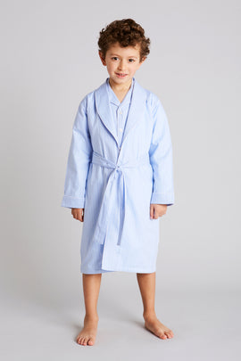 Traditional Blue & White Striped Dressing Gown - Nightwear - PEPA AND CO