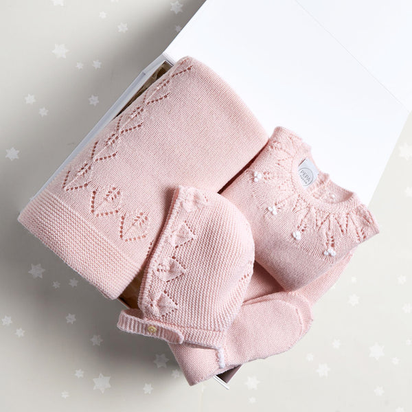 Pink Openwork Knitted Gift Set - GIFT SET - PEPA AND CO