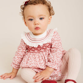 Burgundy Floral Handsmocked Cotton Romper - ROMPER - PEPA AND CO