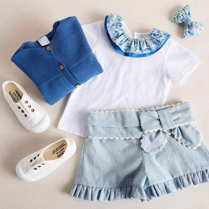 Blue Cotton Shorts with Bow - Shorts - PEPA AND CO
