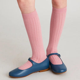 Pink Ribbed Knee-High Socks - Socks - PEPA AND CO